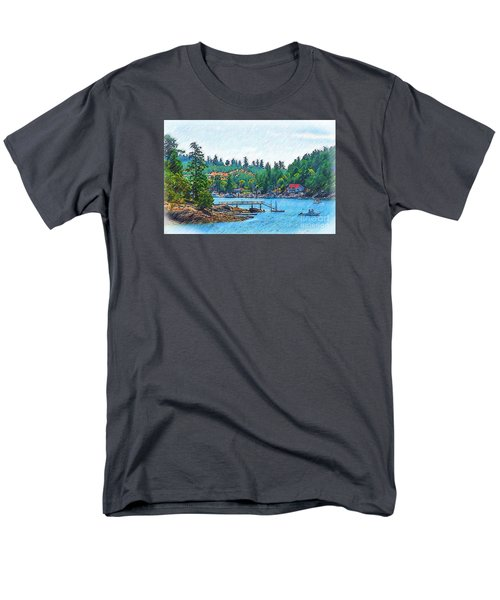 Men's T-Shirt  (Regular Fit) featuring the digital art Friday Harbor Sketched by Kirt Tisdale