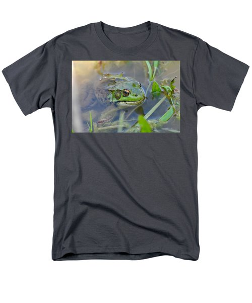 Frog Hiding In The Pond Men's T-Shirt  (Regular Fit) by Lisa DiFruscio