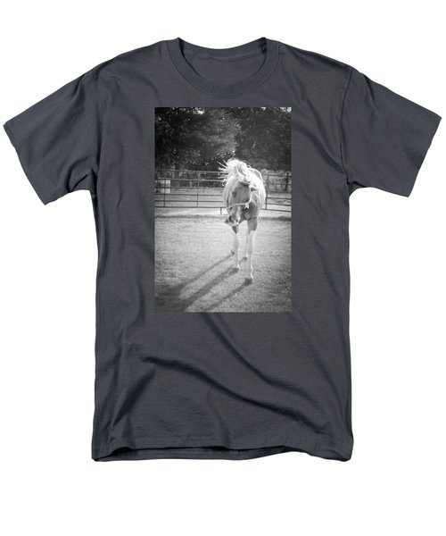Men's T-Shirt  (Regular Fit) featuring the photograph Funny Horse In Black And White by Kelly Hazel