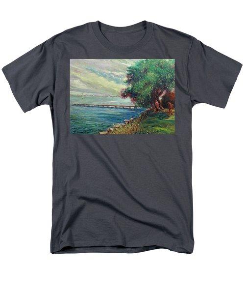 Men's T-Shirt  (Regular Fit) featuring the painting Garda Lake -lago Garda by Walter Casaravilla