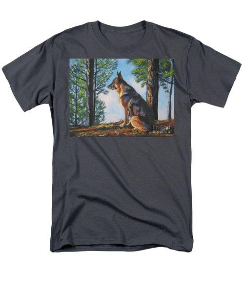 German Shepherd Lookout Men's T-Shirt  (Regular Fit) by Lee Ann Shepard