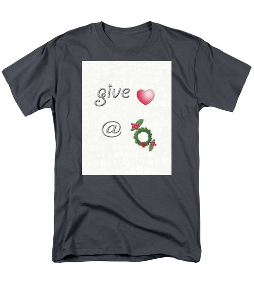 Give Love At Christmas Men's T-Shirt  (Regular Fit) by Linda Prewer