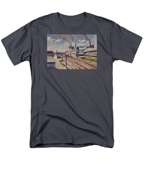 Glass Factory Along The Railway Track Men's T-Shirt  (Regular Fit) by Nop Briex