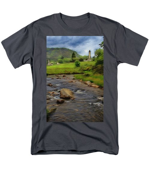 Men's T-Shirt  (Regular Fit) featuring the painting Glendalough In The Distance by Jeff Kolker