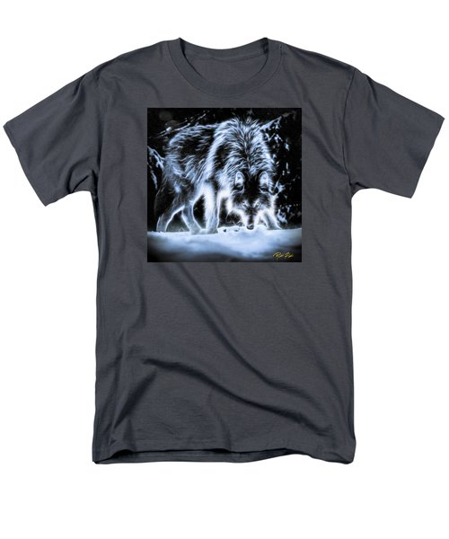 Men's T-Shirt  (Regular Fit) featuring the photograph Glowing Wolf In The Gloom by Rikk Flohr