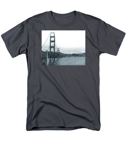 Men's T-Shirt  (Regular Fit) featuring the photograph Golden Gate Blue Rain by Cheryl Del Toro