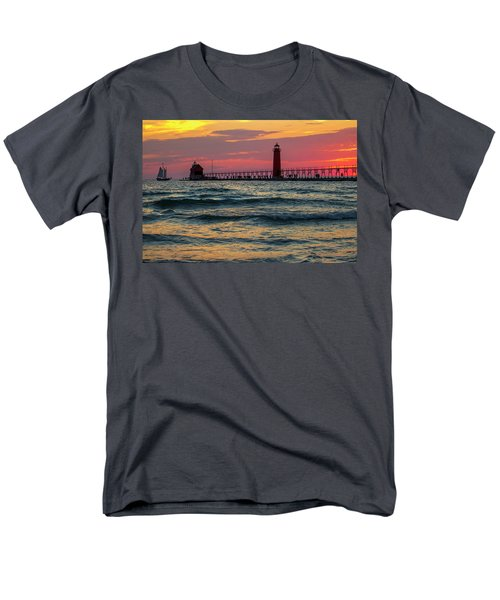 Grand Haven Pier Sail Men's T-Shirt  (Regular Fit) by Pat Cook