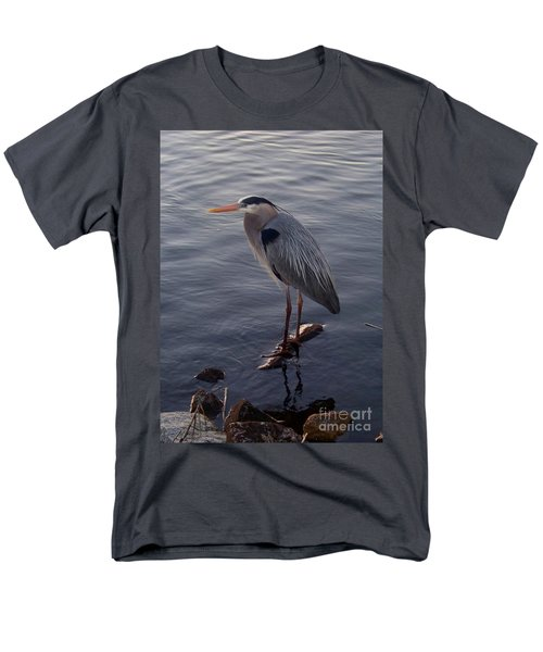 Men's T-Shirt  (Regular Fit) featuring the photograph Great Blue Heron At Evening by Carol  Bradley