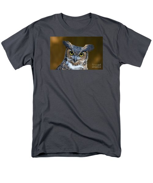 Great Horned Owl Portrait Men's T-Shirt  (Regular Fit) by Kathy Baccari