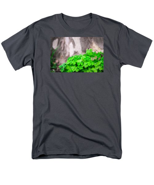 Men's T-Shirt  (Regular Fit) featuring the photograph Green Clover And Grey Tree by John Williams