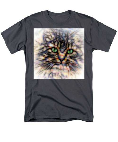 Green Eye Kitty Square Men's T-Shirt  (Regular Fit) by Terry DeLuco