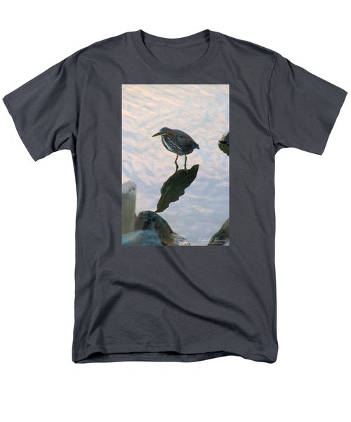 Men's T-Shirt  (Regular Fit) featuring the photograph Green Heron In Pink Waters by Robert Banach