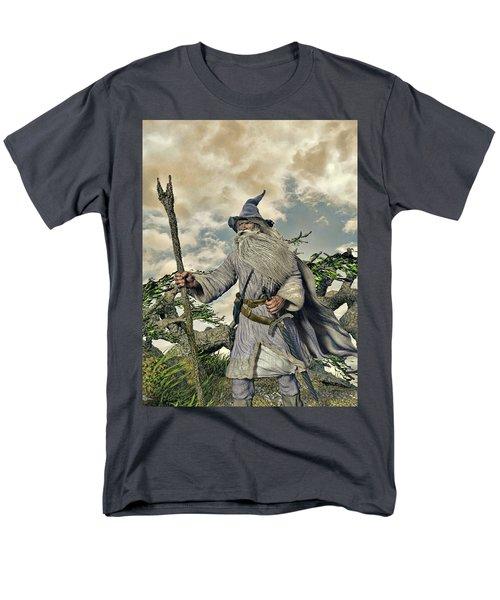 Grey Wizard II Men's T-Shirt  (Regular Fit) by Dave Luebbert