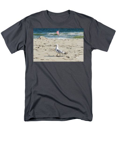 Men's T-Shirt  (Regular Fit) featuring the photograph Gull And Flag Rockaway Beach by Maureen E Ritter