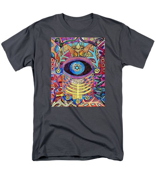 -hamsa Menorah Tree Of Life - Bright Lights  Men's T-Shirt  (Regular Fit) by Sandra Silberzweig
