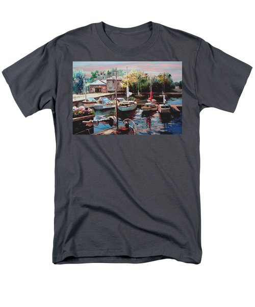 Harbor Sailboats At Rest Men's T-Shirt  (Regular Fit) by Ron Chambers