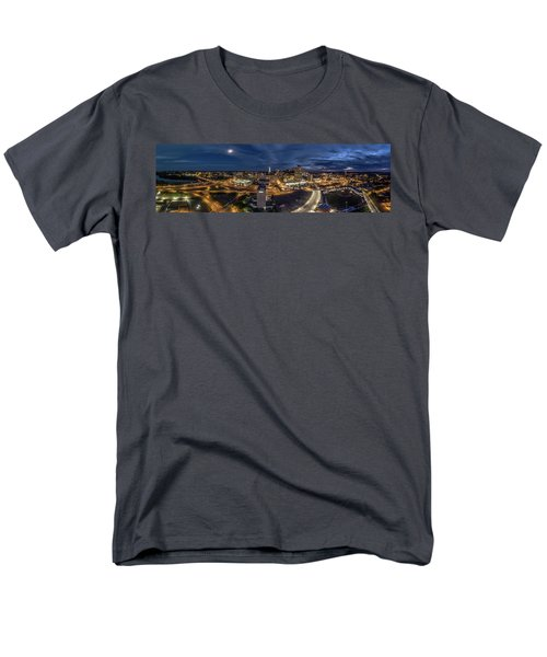 Hartford Ct Night Panorama Men's T-Shirt  (Regular Fit) by Petr Hejl