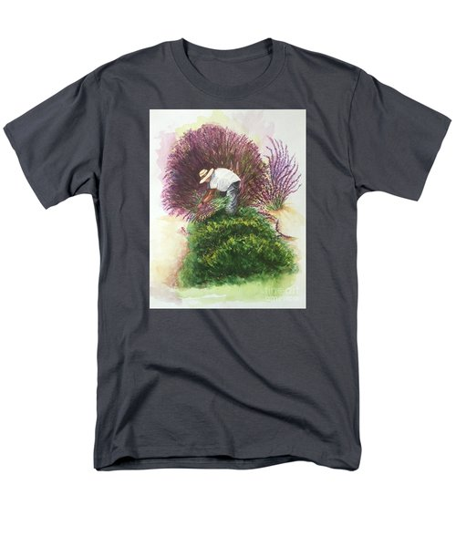 Men's T-Shirt  (Regular Fit) featuring the painting Harvesting Lavender by Lucia Grilletto