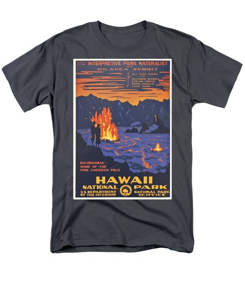 Hawaii Vintage Travel Poster Men's T-Shirt  (Regular Fit) by Georgia Fowler