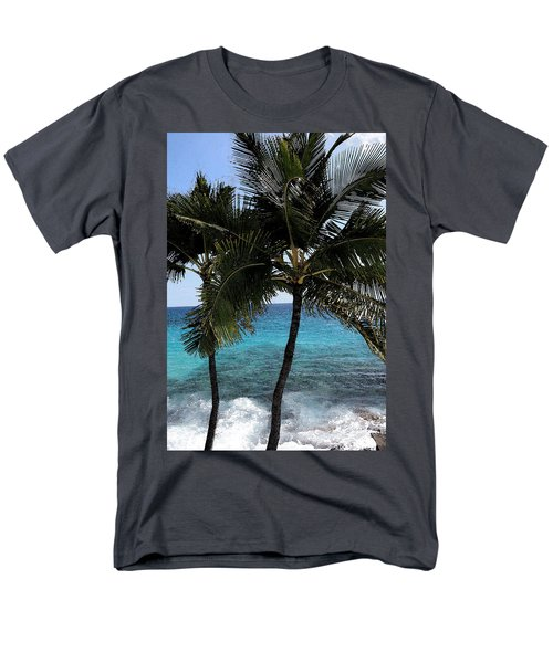 Hawaiian Palm Trees - All Images Copyright Karen L. Nicholson Men's T-Shirt  (Regular Fit) by Karen Nicholson