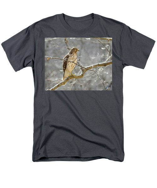 Men's T-Shirt  (Regular Fit) featuring the photograph Hawk On Lookout by George Randy Bass