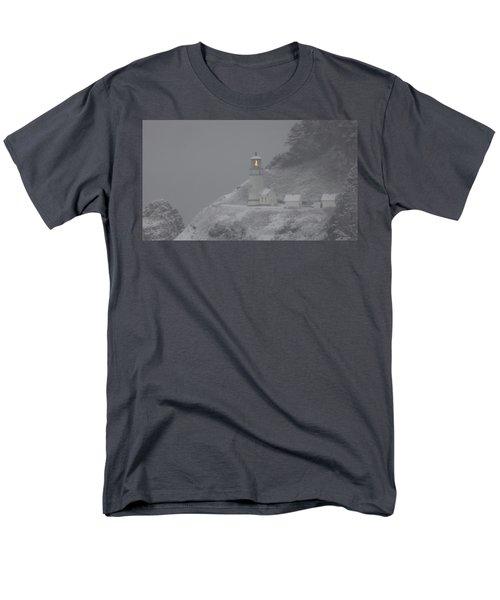 Heceta Lighthouse Snowstorm Men's T-Shirt  (Regular Fit) by Kenny Henson