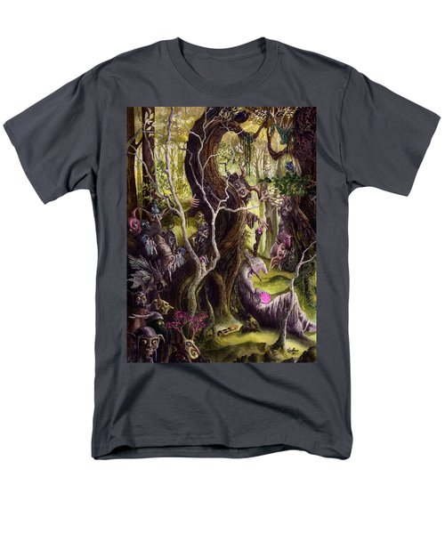 Men's T-Shirt  (Regular Fit) featuring the painting Heist Of The Wizard's Staff by Curtiss Shaffer