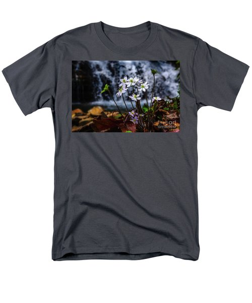Men's T-Shirt  (Regular Fit) featuring the photograph Hepatica And Waterfall by Thomas R Fletcher