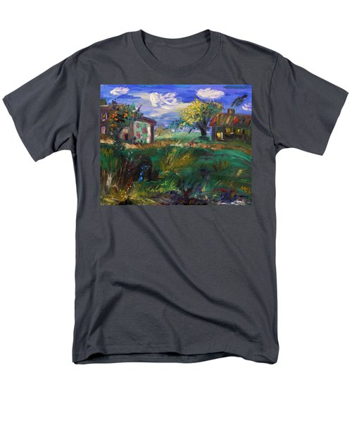 Men's T-Shirt  (Regular Fit) featuring the painting Hillside Tranquility by Mary Carol Williams