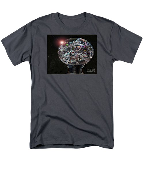 Men's T-Shirt  (Regular Fit) featuring the photograph Hollywood Dreaming - Oblong Globe by Cheryl Del Toro
