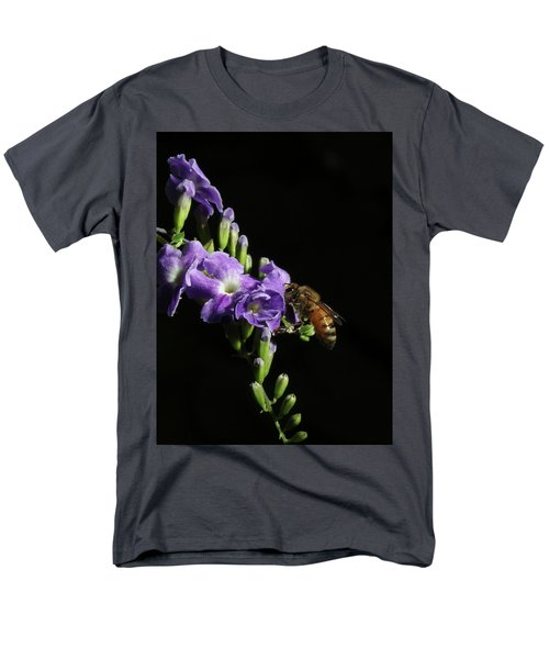 Men's T-Shirt  (Regular Fit) featuring the photograph Honeybee On Golden Dewdrop by Richard Rizzo