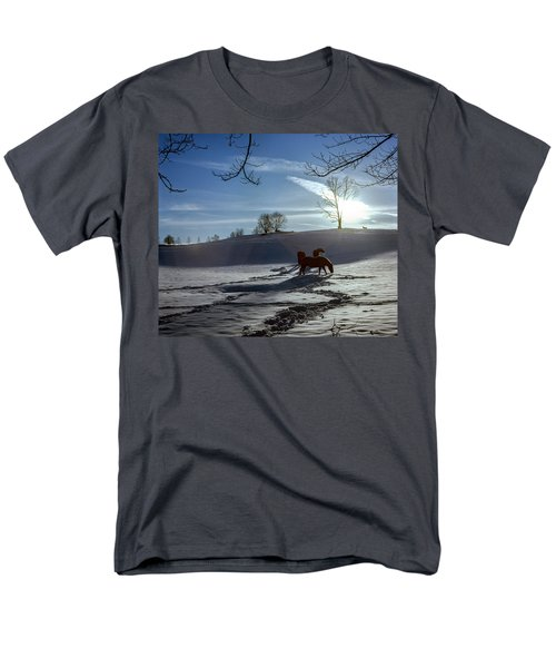 Horses In The Snow Men's T-Shirt  (Regular Fit) by Greg Reed