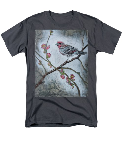 Men's T-Shirt  (Regular Fit) featuring the mixed media House Finch by Sheri Howe