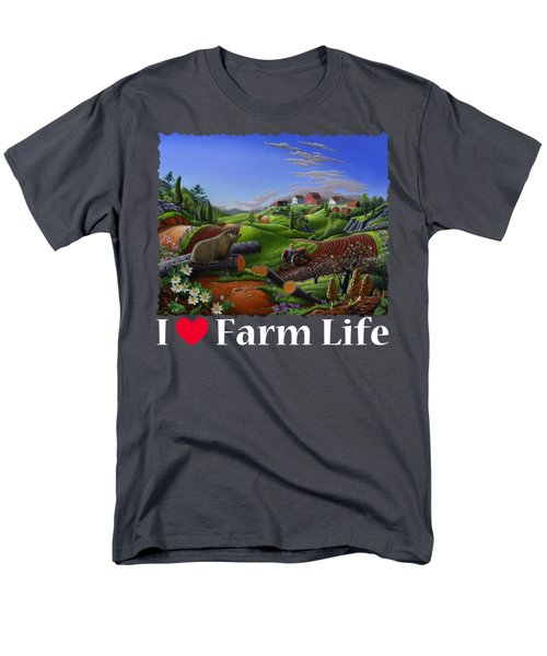 I Love Farm Life T Shirt - Spring Groundhog - Country Farm Landscape 2 Men's T-Shirt  (Regular Fit)