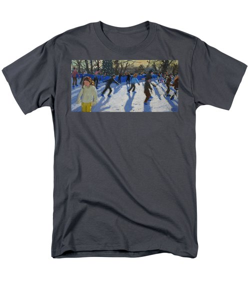 Ice Skaters At Christmas Fayre In Hyde Park  London Men's T-Shirt  (Regular Fit) by Andrew Macara