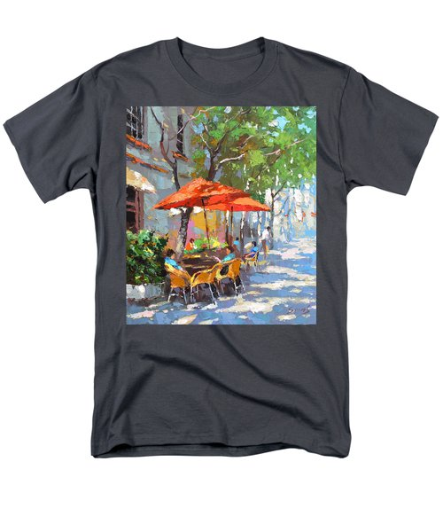 Men's T-Shirt  (Regular Fit) featuring the painting In The Shadow Of Cafe by Dmitry Spiros