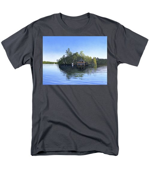Men's T-Shirt  (Regular Fit) featuring the painting Island Boathouse Muskoka  by Kenneth M Kirsch