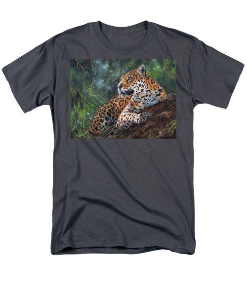 Jaguar In Tree Men's T-Shirt  (Regular Fit) by David Stribbling