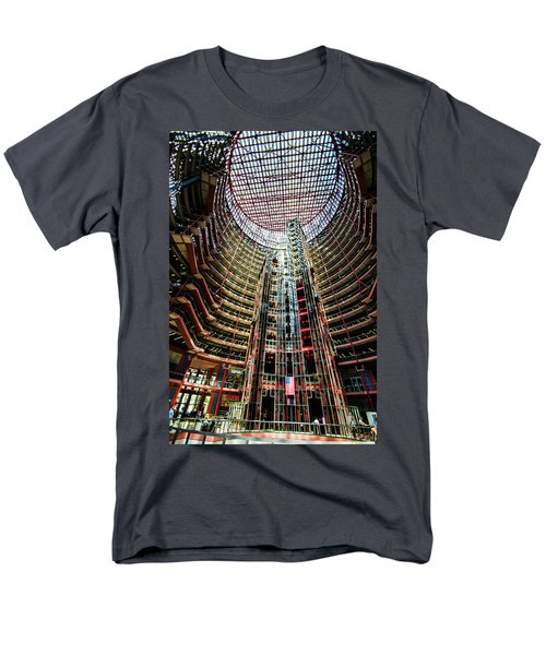 Men's T-Shirt  (Regular Fit) featuring the photograph James R Thompson Center Interior Chicago by Deborah Smolinske