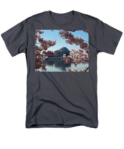 Jefferson Memorial At Cherry Blossom Time On The Tidal Basin Ds008 Men's T-Shirt  (Regular Fit) by Gerry Gantt