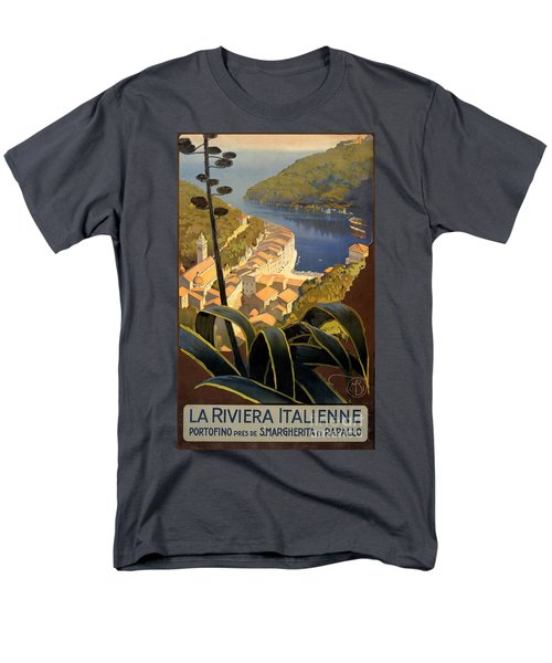 La Riviera Italienne Vintage Travel Poster Restored Men's T-Shirt  (Regular Fit) by Carsten Reisinger