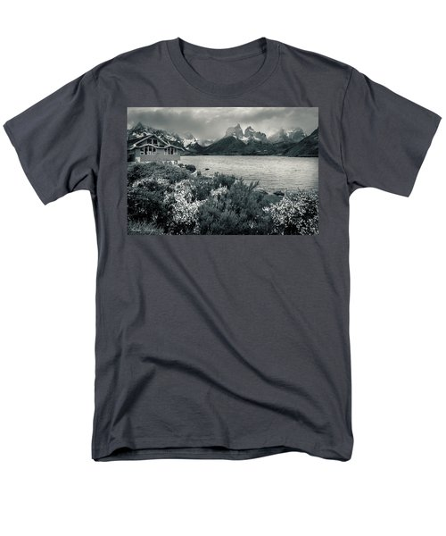 Men's T-Shirt  (Regular Fit) featuring the photograph Lake Pehoe In Black And White by Andrew Matwijec