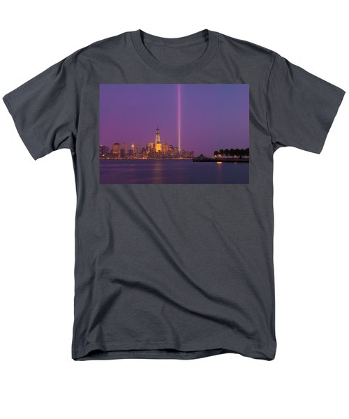 Laser Twin Towers In New York City Men's T-Shirt  (Regular Fit) by Ranjay Mitra