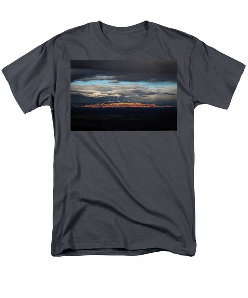 Late Light On Red Rocks With Storm Clouds Men's T-Shirt  (Regular Fit) by Ron Chilston