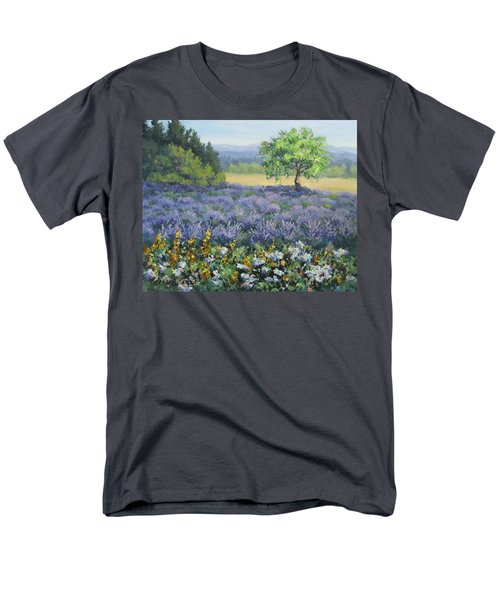 Men's T-Shirt  (Regular Fit) featuring the painting Lavender And Wildflowers by Karen Ilari
