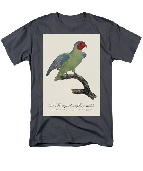 Le Perroquet Geoffroy Male / Red Cheeked Parrot - Restored 19th C. By Barraband Men's T-Shirt  (Regular Fit) by Jose Elias - Sofia Pereira