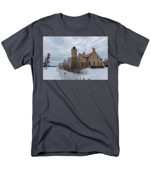 Men's T-Shirt  (Regular Fit) featuring the photograph Lighthouse And Mackinac Bridge Winter by John McGraw
