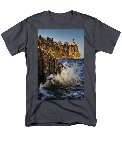 Men's T-Shirt  (Regular Fit) featuring the photograph Lighthouse And Spray by Larry Ricker