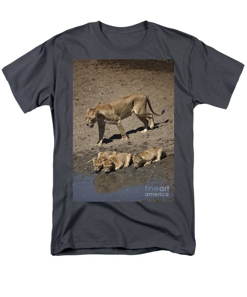 Lion Cubs And Mom Get A Drink Men's T-Shirt  (Regular Fit) by Darcy Michaelchuk