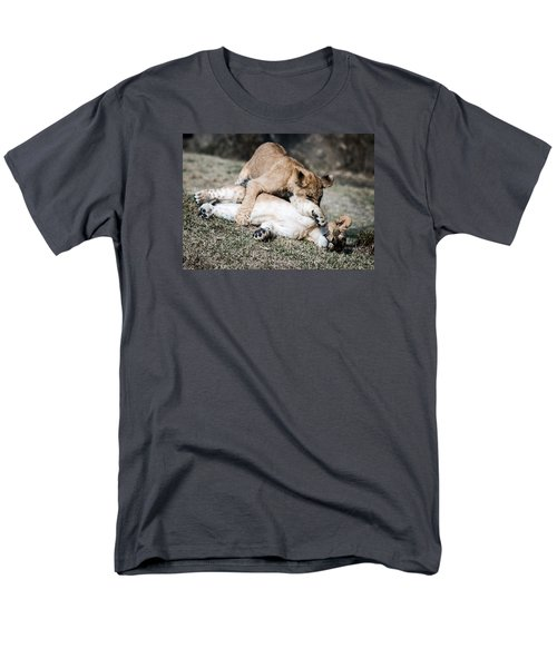 Men's T-Shirt  (Regular Fit) featuring the photograph Lion Cubs At Play by Cathy Donohoue